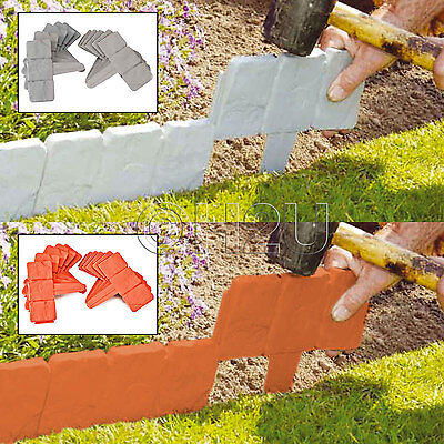 10 Pack Grey / Terracotta Cobbled Stone Effect Garden Lawn Edging Plant