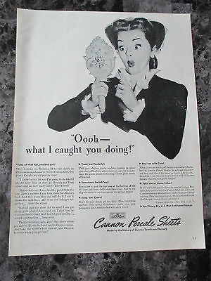 "Vintage 1943 Cannon Percale Sheets Print Ad, 13.5"" X 10.25"""