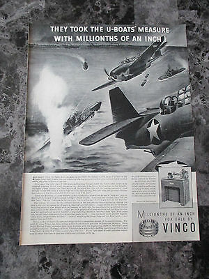 "Vintage 1943 Vinco Inspection Devices Aviation Themed Print Ad, 13.625"" X 10.25"""