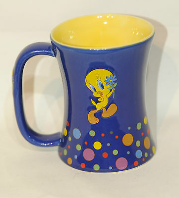 Warner Brothers Tweety Bird Polka Dot Blue Coffee Tea Hot Chocolate Cup Mug