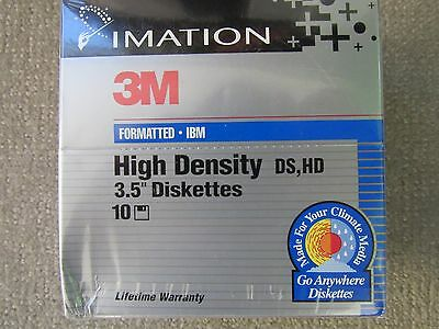 Imation 3M High Density Floppy Disks Ten 3.5 New in Sealed Package
