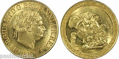 King George Iii Mint State Gold Sovereign Of The Year 1817 Pcgs Ms62+ S-3785