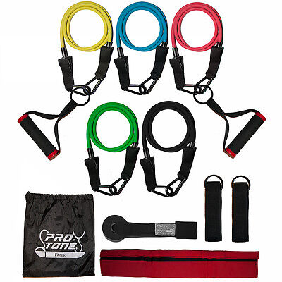 Protone resistance bands set - 5 tube set with handles, door anchor, ankle strap