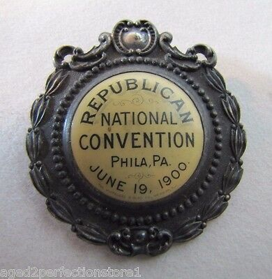 Orig Antique 1900 Republican National Convention Phila Pa Medallion Fob W&H rare