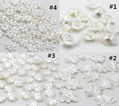 50/100pcs white Half Pearl Flower Bead Flat Back Scrapbook for Craft
