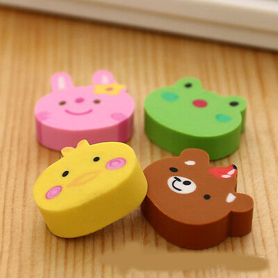 4pcs/set Cute Animal Rubber Pencil Eraser Children Student Stationery Gift Toy