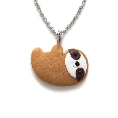 Funny Cute Brown Sloth Necklace Pendant Charm Jewelry Friendship Girl Gift Idea