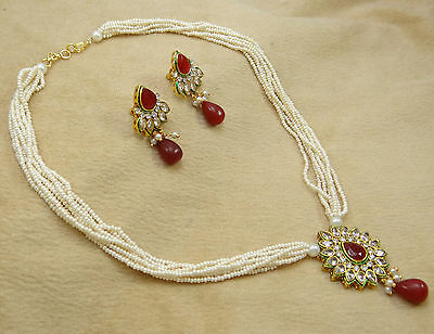 Indian Bollywood Traditional Goldplated Pendant Necklace Earring Set Jewelry
