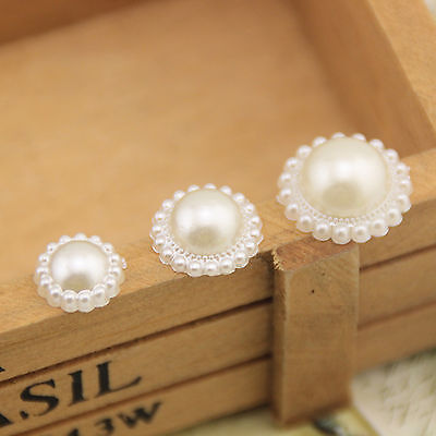 50pcs Ivory Flat Back Pearl Flower Beads Scrapbook for Wedding Embellishments