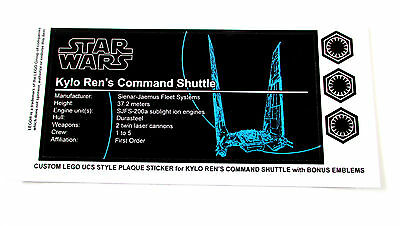 CUSTOM PLAQUE STICKERS DIE CUT for Lego 75104 Kylo Ren's Shuttle ,MODELS, ETC