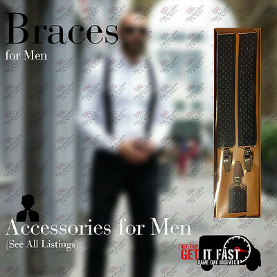 New Arrival Heavy Duty Men Braces Black White Dotted Suspender Elastic 35Mm Wide