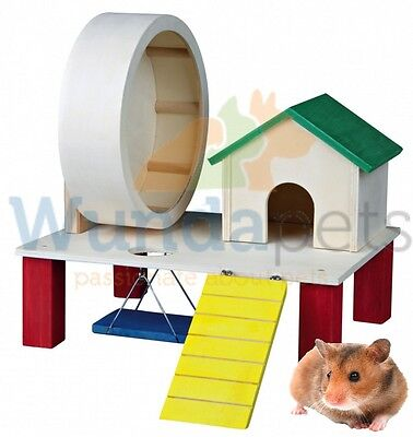 Trixie Wooden Playground Hamster Mouse House Wheel Swing Cage Play Toy 61371 Hs