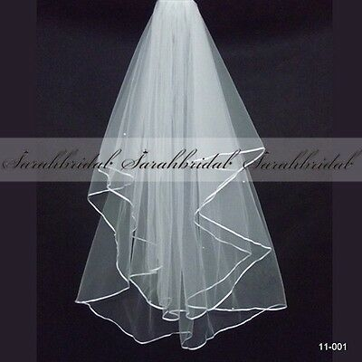White Ivory 2T Wedding Bridal Veil Satin Edge Elbow Elegant Cathedral Tulle Veil