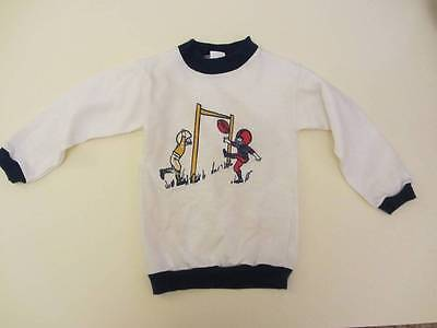 childrens vintage top sports American football blue white age 3 70's deadstock