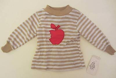 childrens vintage t shirt red apple logo striped 18 months 70's NWT's