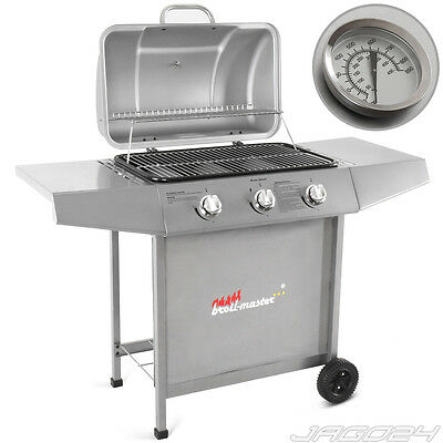 Barbecue grill à gaz grillades camping BBQ cuisson thermomètre jardin 3 brûleurs