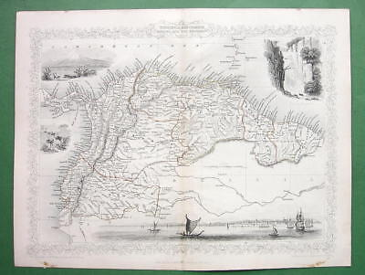 TALLIS MAP Antique Original 1851 - VENEZUELA Guyanas Equador South America