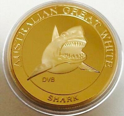 Australian Great Shark Collectable Coin Finished In 24k Gold .999 Capsule 2014