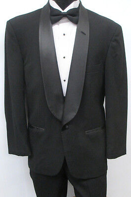 Black Christian Dior One Button Shawl Tuxedo Package Wedding Prom Formal 50L
