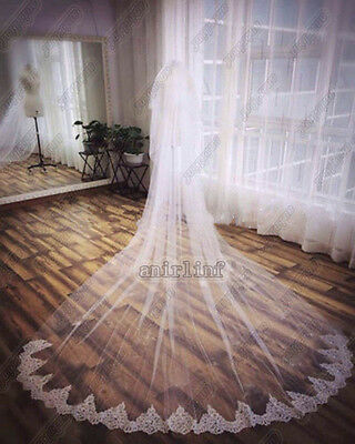 White Ivory 2T Lace Edge Cathedral Long Bridal Wedding Veil With + Comb NEW