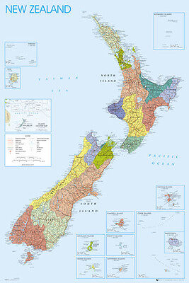 Wall Map of NEW ZEALAND Full-Sized Poster (Cities, Regions, Geography, etc.)