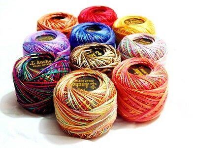 10 Colours Set Variegated Anchor Pearl Cotton Crochet Balls Embroidery Threads