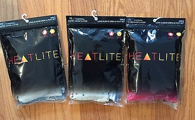 NWT Girls $30 HEATLITE Thermal Base Layer ~Long Sleeve Crew & Pant Set~ Various