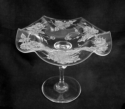 Elagant STEUBEN Ruffled Compote w/Rose Etching- Unsigned-
