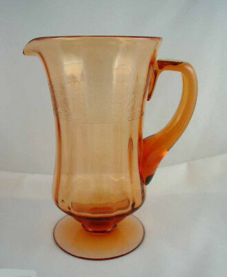 Elegant Fostoria Glass- SEVILLE Etched- Ftd. Amber Water Pitcher