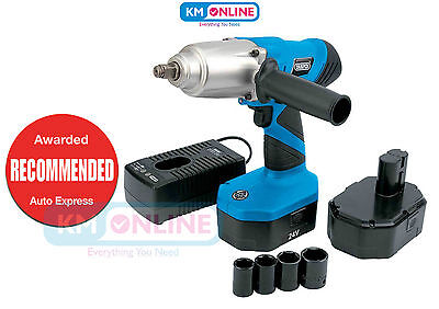 "Draper 31075 24v Cordless 1/2"" Sq. Dr. Wheel Nut Impact Wrench with 2 Batteries"