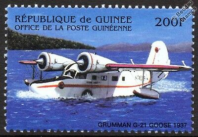 GRUMMAN GOOSE G-21 Flying Boat / Seaplane Aircraft Stamp (Guinea Rep.)