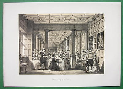 ENGLAND Hatfield Mansion Long Gallery !! Litho Antique Print
