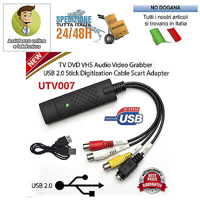 Scheda Usb 2.0 Pc Acquisizione Video Audio Converter Grabber Live Easycap Hd Vhs