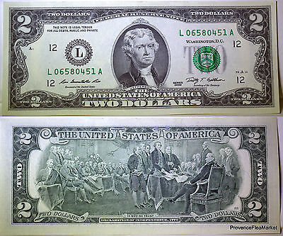 USA billet neuf 2 dollars L  PORTE CHANCE DANS LA  TRADITION AMERICAINE 2009