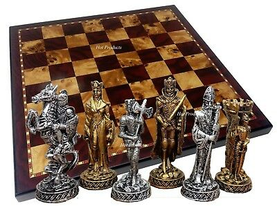 """Medieval Times Crusades PEWTER METAL CHESS Set 18"""" Cherry & Burlwood Color Board"""