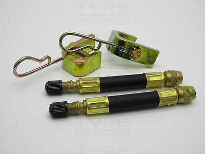 2 x 105mm Flexible Rubber Tyre Valve Extensions With 2 X Clamps Truck Bus Agri