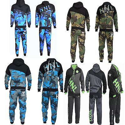 Mens Fleece Army Jogging Suit Hooded Tracksuit Bottoms Trousers Tops S M L Xl