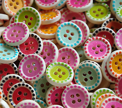 Wooden Colourful Buttons Mixed 15mm for sewing card making and crafts 25/50/100