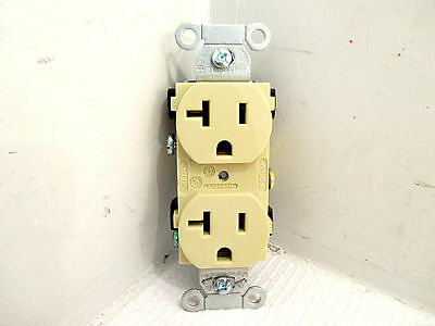 8 Hubbell 5362I Receptacle, Duplex Straight Blade, Hubbel-Pro, 20A, 125V, Ivory