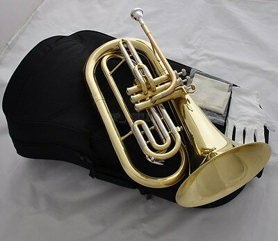 Professional Gold Marching Baritone Monel Valves Bb Keys Horn With Case
