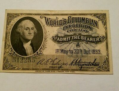 Chicago Worlds Fair Columbian Exposition Ticket Washington Authentic 512255