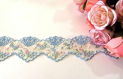 Blue & Pink Embroidered Lace Trim 5 cm wide #6BE229B