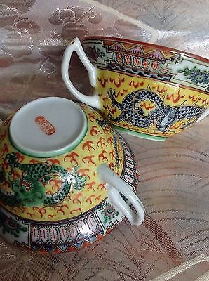 Antique Yellow Famille Rose Good Luck Dragon Coffee/Tea Cup w/Handle