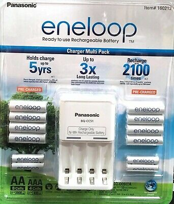 2019 Eneloop Rechargeable Batteries NiMH 8 AA 4 AAA + Battery Charger Recharge
