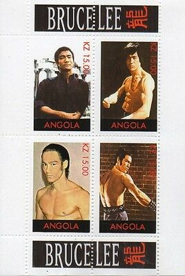 Bruce Lee Martial Arts Kung Fu Karate Warrior Angola Mnh Stamp Sheetlet