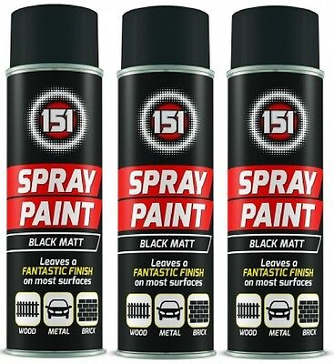 3 x Black Matt Aerosol Paint Spray Cars Wood Metal Walls Graffiti 300ML 151 New