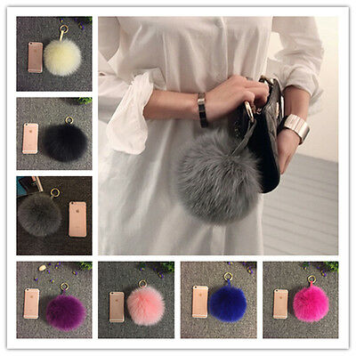 "6"" Large XL 100% Real Fox Fur Leather pom pom Ball Handbag Charm car Key Chain"