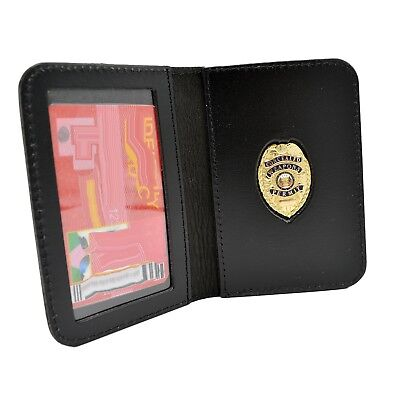 CWP CCW Concealed Weapon Carry Permit Mini Badge Leather ID Case Custom Imprint