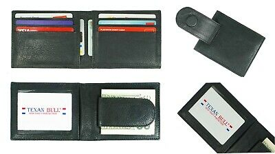 Leather Bifold Slim ID Card Holder Front Pocket Black Men's Money Clip Wallet