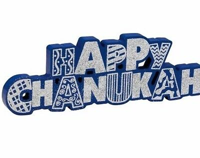 NWT Blue & Silver Glitter Happy Chanukah Wood Table Decoration Sign
